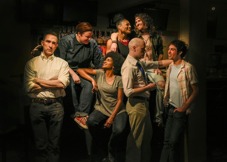 The Cast of HIT THE WALL at WaterTower Theatre. Photo by Karen Almond.